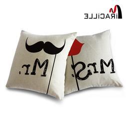 Miracille 2 Pieces Cotton Linen MR & MRS Wedding Couple Cush