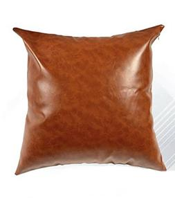2Pack Faux Leather Pillow Covers - 18x18 Inch Modern Look De