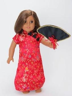 2PC Red Asian Dress & Fan For 18 Inch American Girl Doll Clo