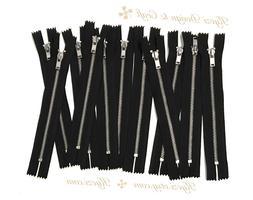 """3 5 10 pcs Black Metal Teeth  Zippers 4"""" 5"""" 6"""" 7"""" 8"""" 9"""" 10"""""""