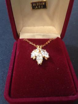 3 crystals In pendant necklace 18 Inch Gold Tone With Box US