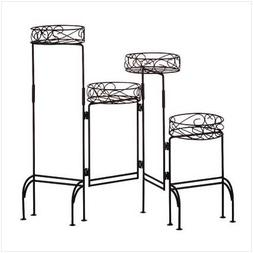 Gifts & Decor 4-Tier Metal Plant Stand Shelf Foldable Screen