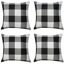 4 Pack Throw Pillow Covers 18 X18 Inch Buffalo Plaid Black W