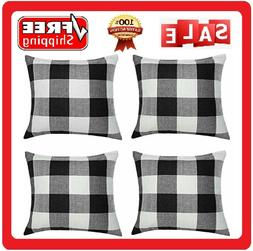 4 Pack Throw Pillow Covers 18 X18 Inch Buffalo Plaid Black W