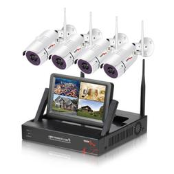 """4CH Wireless Security Camera System with DVR kits 7"""" Monitor"""