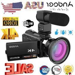Andoer 4K WiFi 1080P HD 48MP 16X Digital Video Camera Camcor