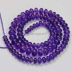 5.1mm-10.6mm Fine Gem Purple Amethyst Smooth Rondelle Beads