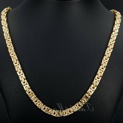7mm 18-36 inch Gold Tone Stainless Steel Necklace Flat Byzan