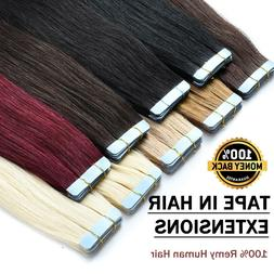 8A Full Head Invisible Tape In 100% Real Remy Human Hair Ext