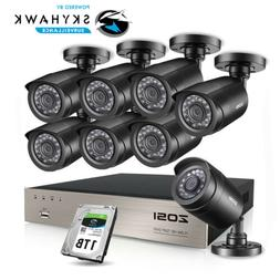 ZOSI 8CH 1080p HDMI DVR 720p Outdoor CCTV Home Security Came