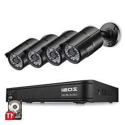 ZOSI 8-Channel HD-TVI 1080p Lite Security Camera System, 4in