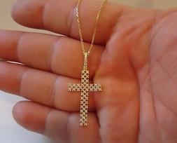 925 STERLING SILVER 14K GOLD PLATED CROSS CHECKERED PENDANT