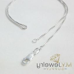 925 Sterling Silver BOX Chain Necklace, Made in USA 1.0mm 16