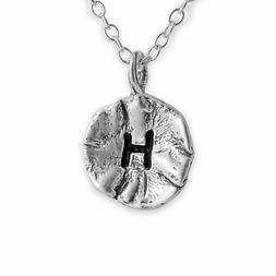 Azaggi 925 Sterling Silver Necklace Letter H Initial Coin Te