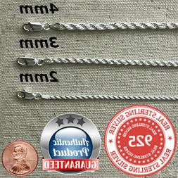 925 Sterling Silver real Italian Silver solid Rope Chain Men