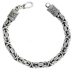 """925, Sterling Silver Square Byzantine Chain Necklace 7mm 16"""""""