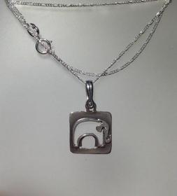 925 Sterling Silver Square Elephant Pendant Dangle Necklace