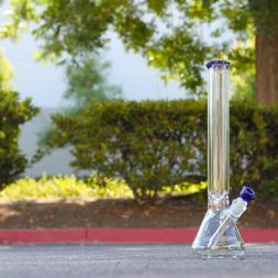 9MM THICK Wall 18 INCH Bong Pipe Clear Glass 50mm Beaker Hoo