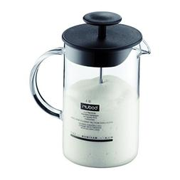 Bodum Latteo Glass Milk Frother with Handle and Black Lid, 8