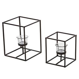 Hosley Set of 2 Candleholders with Clear Votive Glass, Lante