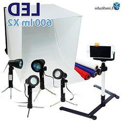 """LimoStudio 24"""" Folding Photo Box Tent LED Light Table Top Ph"""