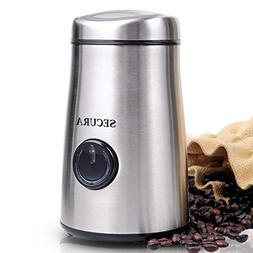 Secura Electric Coffee and Spice Grinder with Stainless-Stee