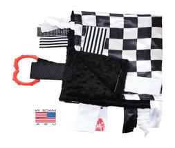 Sensory Baby Tag Blanket, Racing Checkered Flag Lovey for An