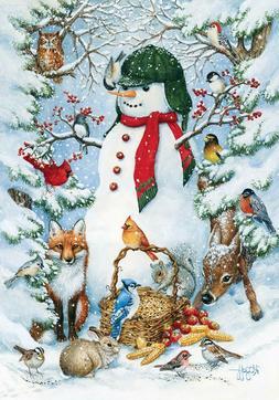Toland Home Garden Woodland Snowman 12.5 x 18 Inch Decorativ