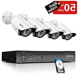 A-ZONE 8CH 1080P DVR AHD Security Cameras System kit W/ 4x H