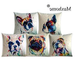 Abstract Oil Painting Adorable Pet Dogs Sofa Throw Pillow De