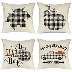 AENEY Fall Pillow Covers 18x18 inch Set of 4 Buffalo Check P