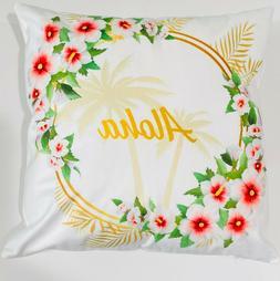 Aloha Hawaii Throw Pillow Cover | Hawaiian Hibiscus Flower