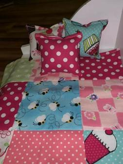 American/ 18 Inch Doll Handmade Patchwork Comforter And Pill