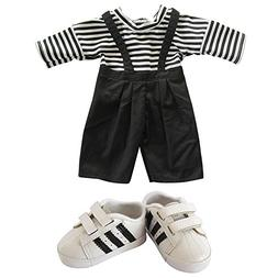 18 inch American Girl Doll Clothes,Shorts Striped Tee Shirt