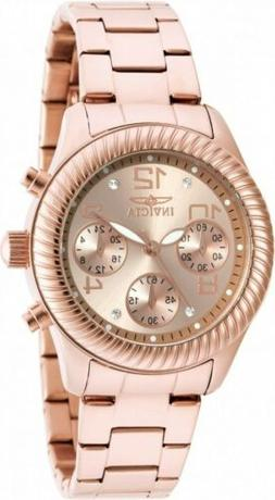 Invicta Women's Angel Chronograph Rose Gold Dial Stainless S