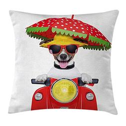 Animal Throw Pillow Cushion Cover, Dog with a Hat and Sungla