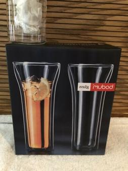 BODUM ASSAM TERMO GLASSES DUAL WALL 8.5 INCHES 18 OZ NEW IN