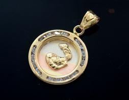 baptism charm 14k real gold oro garantizado