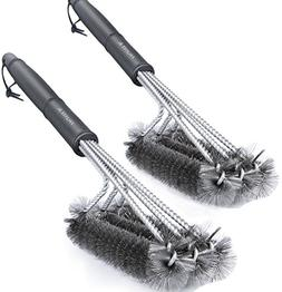 BBQ Grill Brush, Set of 2 Stainless Steel Wire Bristles Barb