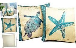 Beach Throw Pillows| Decorative Throw Pillow Covers, 2 Pack