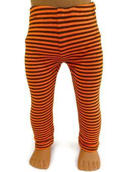 Black & Orange Knit Leggings for 18 inch American Girl Doll