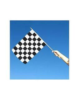 Black and White Checkered 12x18 inch Stick Flag