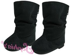 Black Suede Slouchy Boots - 18 Inch Doll Shoes - Fits Americ
