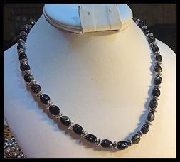 Black Tourmaline Necklace 18 inch Genuine Gems Tibetan Pewte