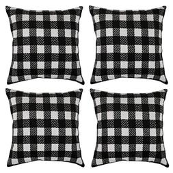Deconovo Black and White Retro Checkered Plaid Throw Pillow