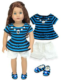 Sophia's Blue & Black Striped T, White Lace Shorts and Match