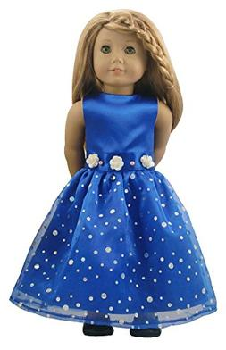 Ebuddy Blue Fashion Long Dresses Clothes Fits 18 inch Girl D