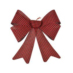 Cabin Checkered Plastic Christmas Bow, Red, 18-Inch