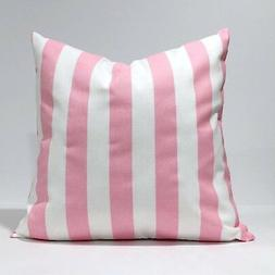 Canopy Baby Pink and White Stripe Throw Pillowcase, Lumbar P