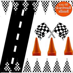 Adorox 100ft Checkered Black/White Racetrack Banner & 1Pk  R